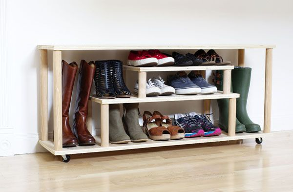 Shoe shelf with his hands