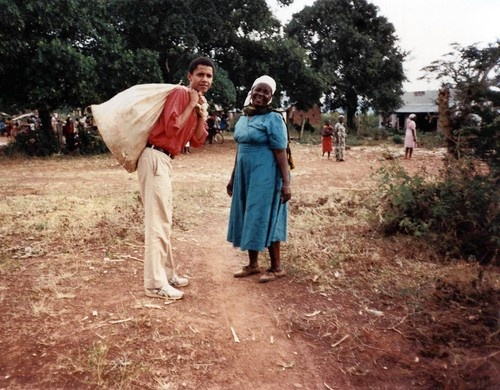 Barack Obama poses with his grandmother during his first trip to Africa to visit the family of his father, Barack Obama, Sr.