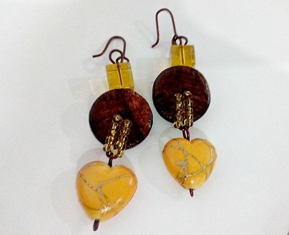 Handmade Beaded Copper Earrings Wood Discs by CopperByCroopa
