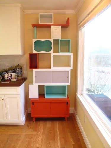 A great way to re-use old pieces of furniture in a odd sized space.