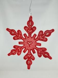 "$8 each Red Embroidered Snowflake  5"" inch Snowflake Christmas tree ornament, this ornament can also be hung from a window.  This item is NOT a toy, keep away from children and pets.  5"" embroidered snowflake, designed by Faodail Creation, Red with seven hot fix crystals attached.  Comes with a metal curvy Ornament hook for hanging."