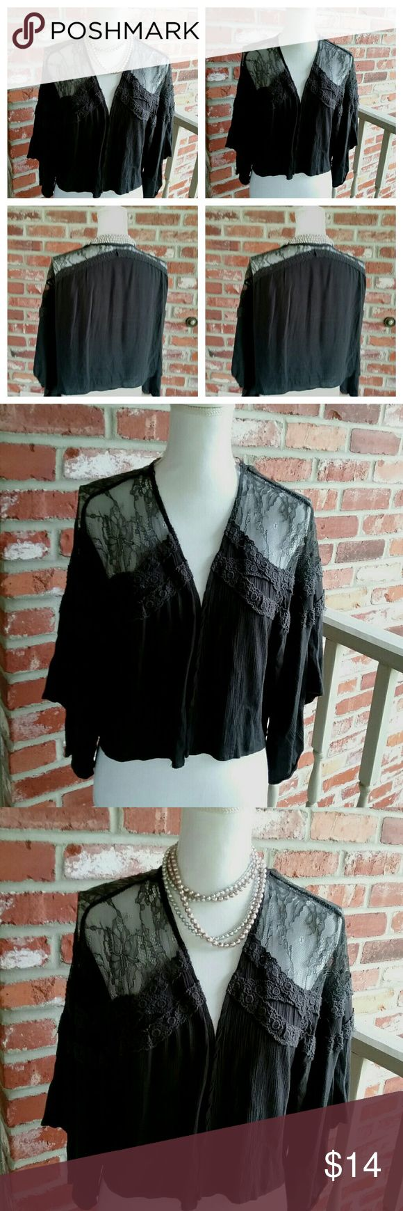 Ladies Hint if Mint Black Lace Shrug Jacket Med This is a Ladies Hint of Mint brand black lace shrug jacket. It is very thin and nice fir summer. It is size medium. It is being sold without flaws or stains Hint of Mint Jackets & Coats Capes