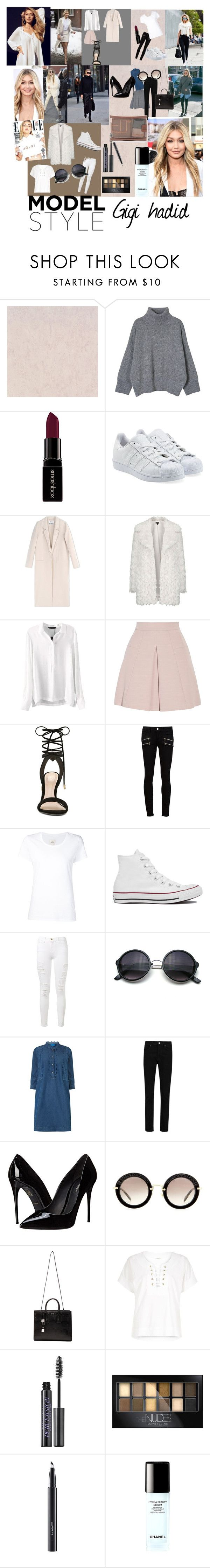 """#looklike #gigihadid #gigi #maybeline #modestyle #beauty #clothers #beauty #lips #mac #maybeline #chanel"" by alvvaa ❤ liked on Polyvore featuring Smashbox, adidas Originals, Acne Studios, Topshop, Alexander McQueen, ALDO, Paige Denim, Max 'n Chester, Converse and Frame Denim"