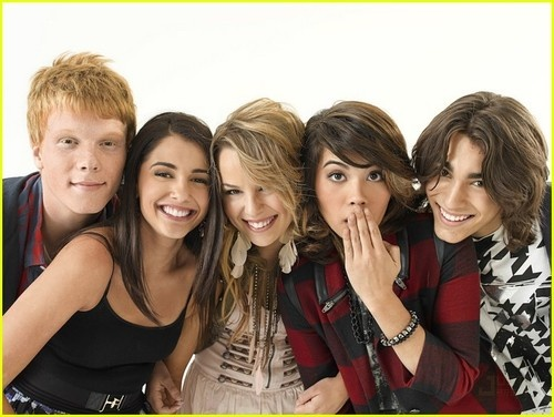 Adam Hicks, Naomi Scott, Bridgit Mendler, Hayley Kiyoko, and Blake Michael