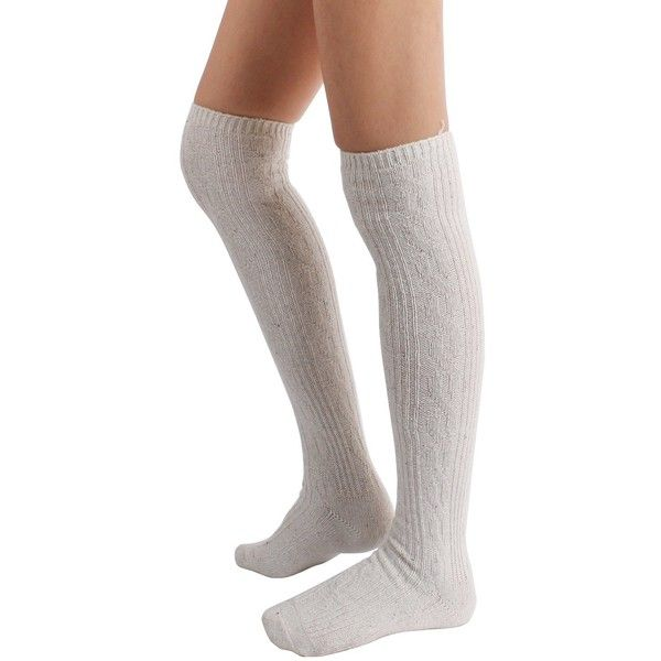 Winter Wool Cable Knit Over The Knee High Socks (One Size, 3PAIR-... ($11) ❤ liked on Polyvore featuring intimates, hosiery, socks, white knee high socks, wool knee socks, knee high socks, grey socks and knee socks