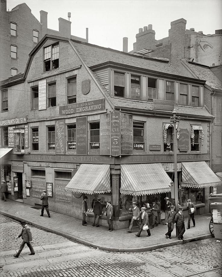 "Boston, Massachusetts, circa 1900. ""Old Corner Bookstore, first brick building in Boston.""  Still looks the same."