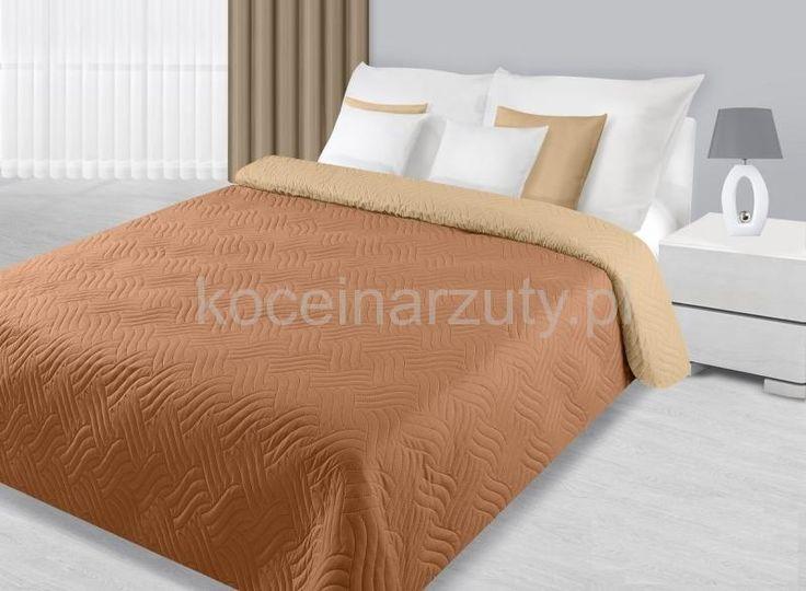 Modne narzuty dwustronne na łóżko do sypialni w kolorze beżowo kremowym