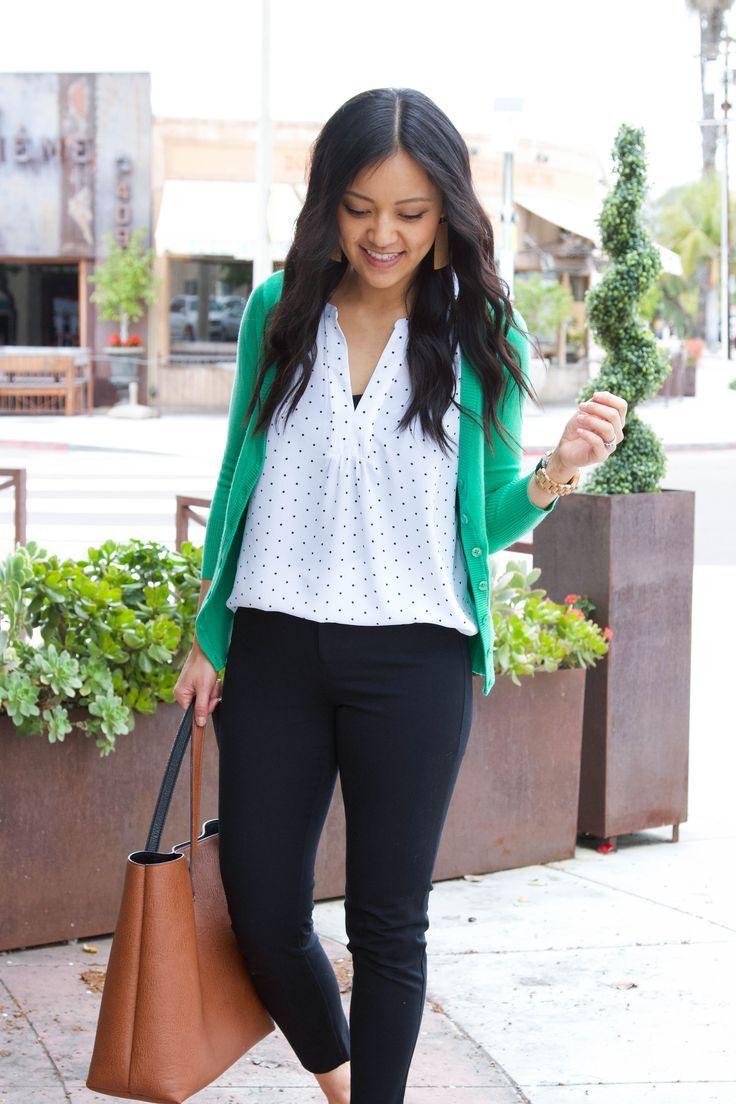 White polka dot shirt, + green cardigan + black ankle pants + cognac tote. #casu…