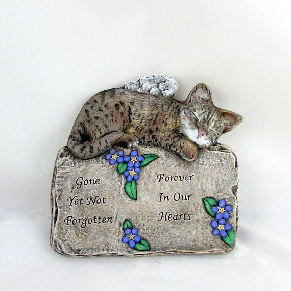 Custom Engraved and Painted Ceramic Cat Memorial Plaque  -hand made