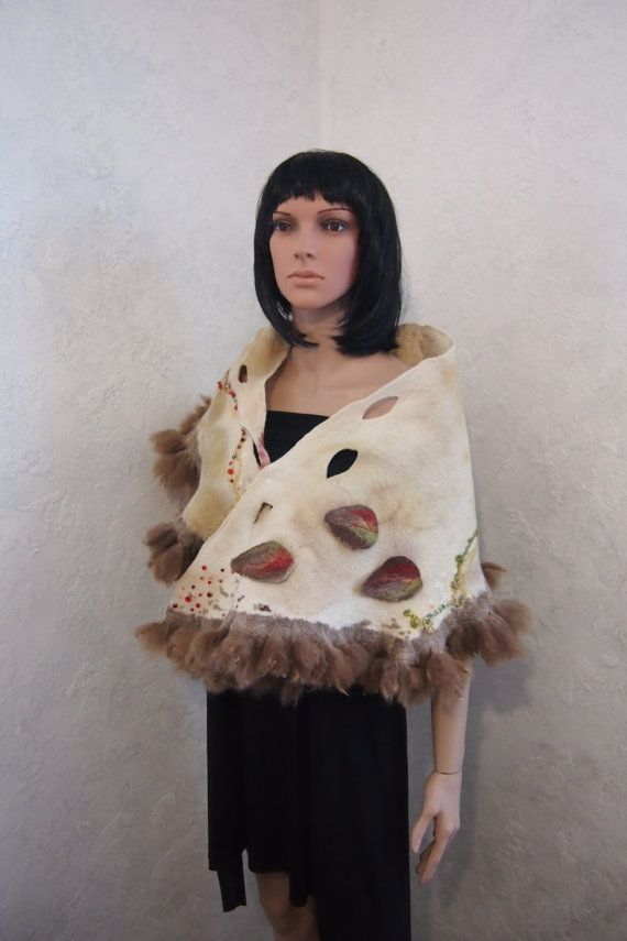 SALE-Felted wool scarf-Real fur scarf-Nuno felted scarf-eco