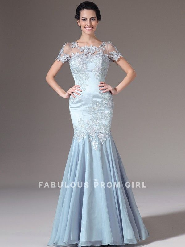 Trumpet / Mermaid Scoop  Applique  Short  Floor-length Chiffon Prom Dresses / Evening Dresses