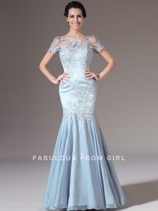 Trumpet / Mermaid Scoop  Applique  Short  Floor-length Chiffon Prom Dresses / Evening Dresses