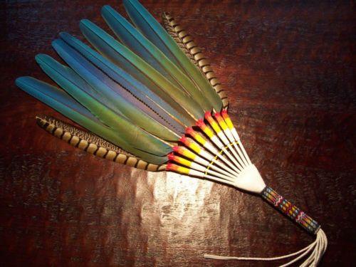 Native American Peyote Beaded Fan Handle | Native American Church Beaded Parrot - Macaw Peyote Prayer Fan - eBay ...