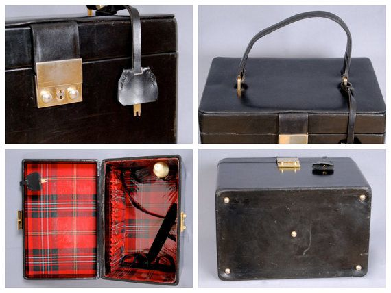 A beautiful leather vanity case from the 1970s with original key. The interior is lined with red check. -- What a wonderful design!
