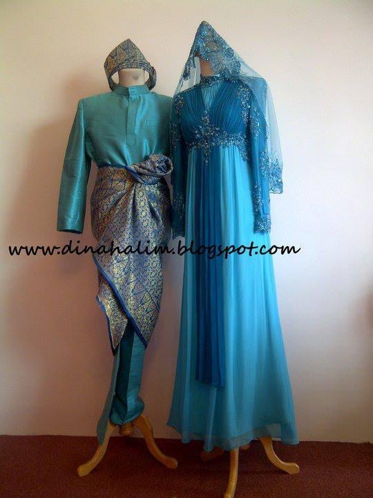 Blue muslimah malay wedding dress