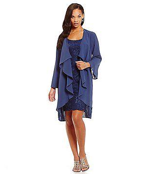 Adrianna Papell Chiffon Overlay Lace Jacket Dress