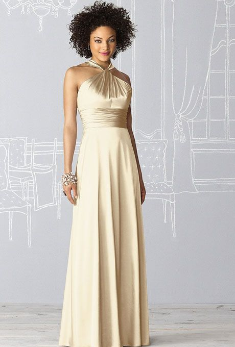 After Six. Style 6624, stretch charmeuse in Banana, $236, After Six available at Weddington Way