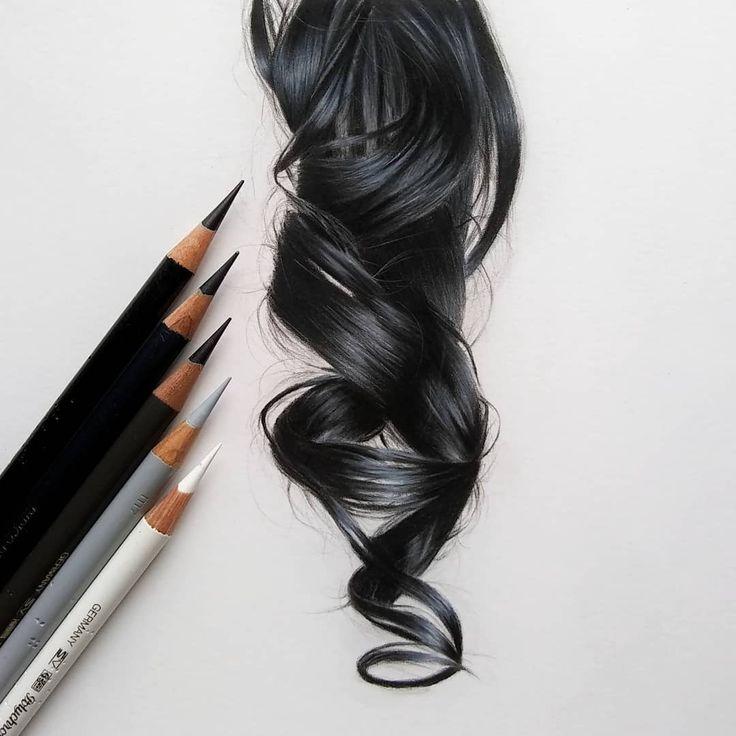 "Catie Sheeran Art on Instagram ""Hair Study no. 4 Black"