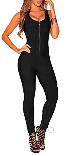 Women Sexy Sleeveless Skinny Exercise Yoga Jumpsuits Zipper Bodysuits Dance 02 S  Special Offer: $14.90  111 Reviews Delcoce Women's Sexy Wide Strap Sleeveless Low Cut Back Zipper Up Skinny Tight Stretch Bodycon Jersey One Piece Tank Rompers Jumpsuits Unitard Bodysuits Playsuits...