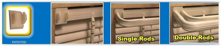 Slide On Curtain Brackets ... the slide on curtain brackets hang curtains In seconds. No nails, no Screws, no measuring & no tools ... they slide onto your existing mini-blinds ............. #DIY #curtain #bracket #rods #decor #crafts