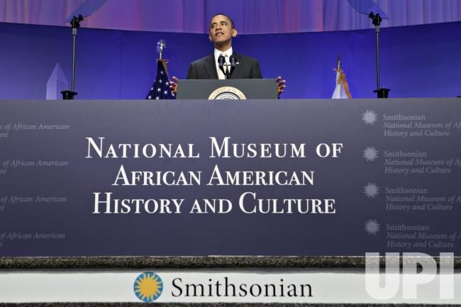 President Barack Obama speaks at the groundbreaking of the Smithsonian National Museum of African American History and Culture in Washington, D.C.