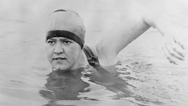"""Gertrude Ederle swam the English channel wearing three layers of grease and a """"scandalous"""" two-piece swimsuit. She was 19 years old, the first woman to swim the channel, and she did it 2 hours faster than any man. In a violent storm."""