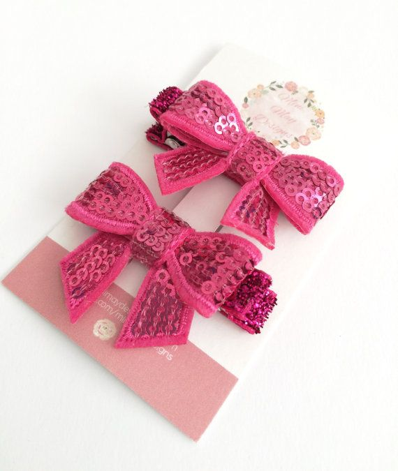 Girl's Hair Bows  Toddler Hair Clips  Pink by MiniMayDesigns