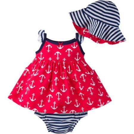 Gerber Newborn Baby Girl Sundress, Diaper Cover and Reversible Floppy Hat, 3-Piece Outfit Set