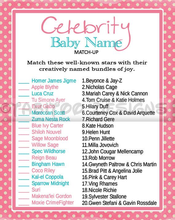 Celebrity Baby Name Match Up Game Baby Shower