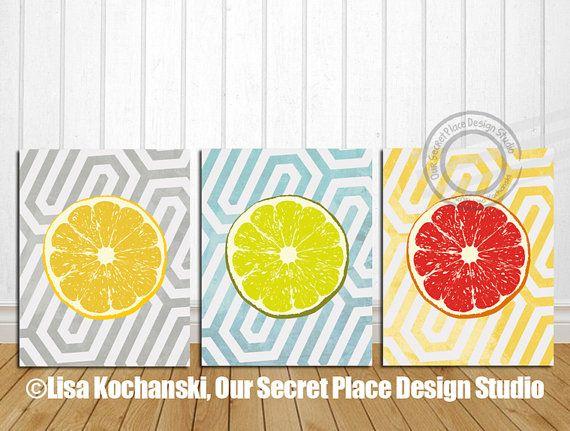 Lemon Lime Grapefruit Retro Kitchen Wall Art Decor by OurSecretPlace ...