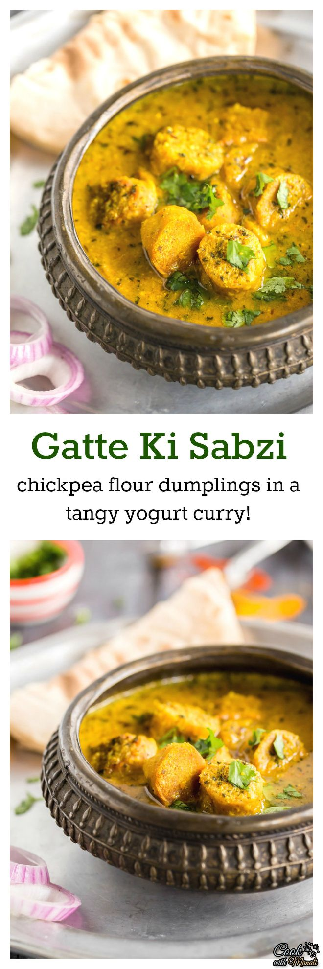 An traditional dish from the state of Rajasthan – chickpea flour dumplings are boiled and then simmered in a yogurt based tangy curry. Gatte ki sabzi tastes great with roti or plain rice! A great alternative for those days when you have no veggies in your refrigerator. #vegetarian #indian #curry