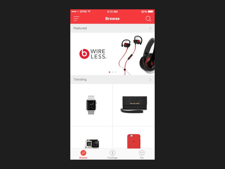 Ecommerce app browse products animation