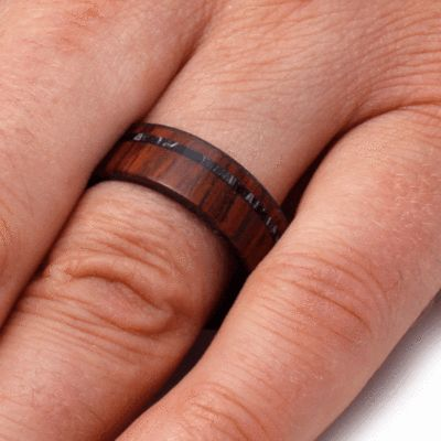 Honduran Rosewood Wedding Band With Mokume Sleeve