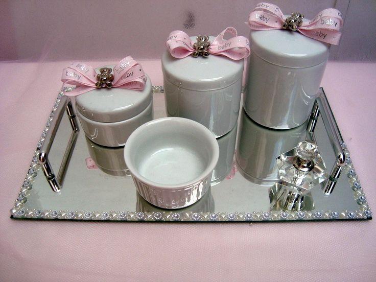 Kit higiene bebê porcelana cristal