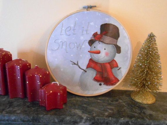 Christmas christmas decor holiday sign let it snow embroidery hoop art christmas quote christmas embroidery winter decoration wall art fiber by CottonCraftArt