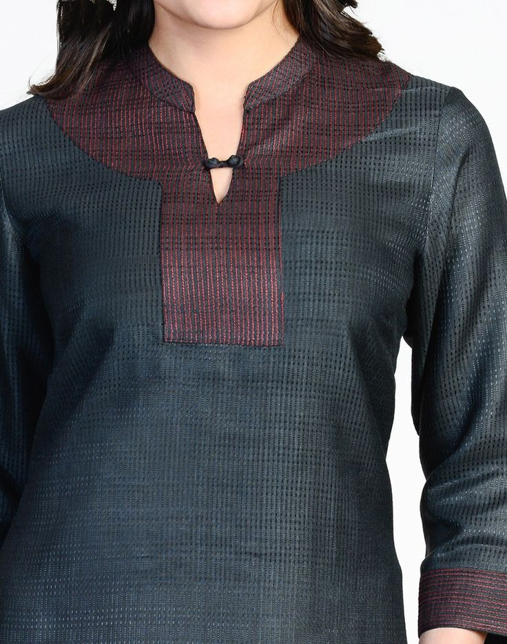 Fabindia.com | Tussar Cotton Textured Top Stitch Tunic