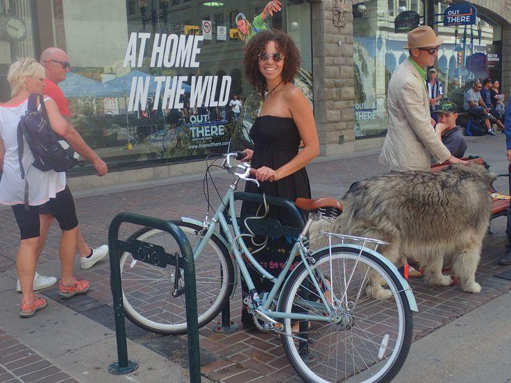 Pretty girls riding bikes in Maxi Dress's are fun!