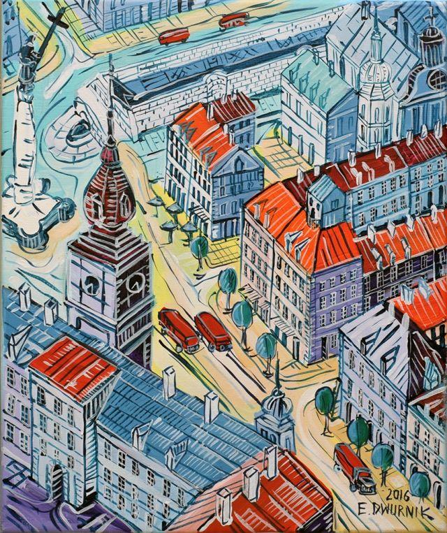 "ArtGalery ° PERSONALART.PL tytuł: ""Warszawa"" autor: Edward Dwurnik personalart.pl/Edward-Dwurnik"