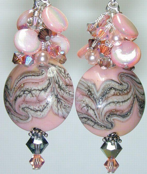 JBB Antique CHANTILLY Lace HANDMADE Lampwork BEAD Earrings