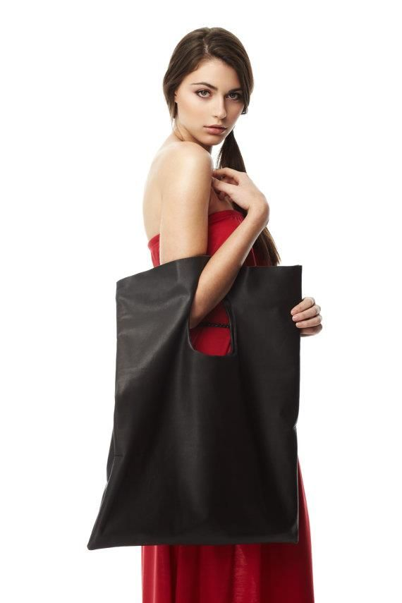 """""""SPOILER ALERT"""" We can definitely carry ALL of our stuff in this one   C'est sûr qu'absolument TOUS nos trucs peuvent y trouver leur place   Oversized Square Bag  by Vicky Dubois Design 245,00 CAD"""