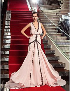 Formeller Abend/Militär Ball Kleid - Perlen Pink Georgette - Etui-Linie - Sweep / Pinsel Zug - V-Ausschnitt Übergröße