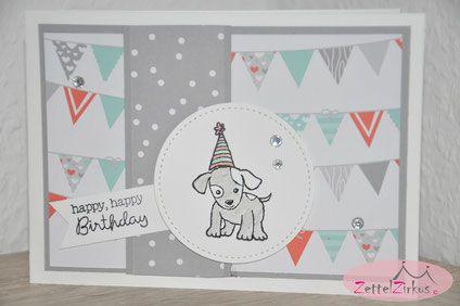 Stampin' Up! beim ZettelZirkus: Little Cutties, Geburtstag, Kinder, Ausgefuchst, Party, Hütchen, Hund, Birthday