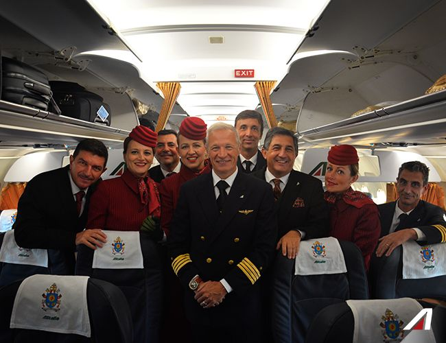 Our crew on board of the #A321, that will accompany the Holy Father to Sweden. #Alitalia #Roma #Rome #Pope #PopeFrancis #Apostolic Journey #PapaFrancesco #Sweden