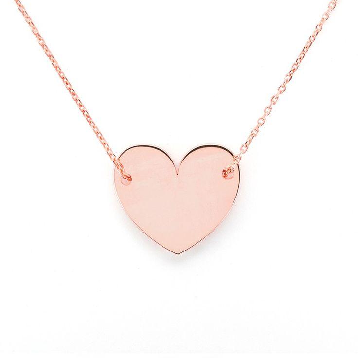 Colgante pequeño de corazón de plata de primera ley bañada en oro rosa con cadena de plata rosa. #colgante #pendant #silver #plata #joyas #jewelry
