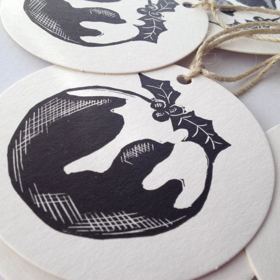 Christmas pudding linocut/ letterpress garland 2014