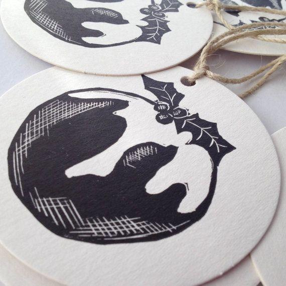 Christmas pudding linocut/ letterpress garland 2014