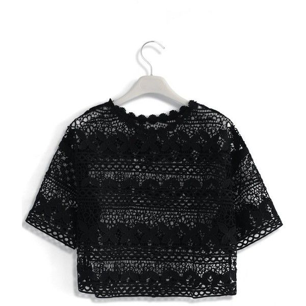 Chicwish Flowers Calling Crochet Smock Top in Black (2.785 RUB) ❤ liked on Polyvore featuring tops, black, camisole crop top, floral print crop top, floral print top, floral top and cropped cami