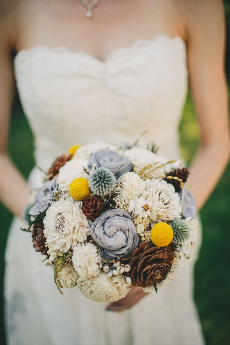 Wood and Dried-Flower Bouquet