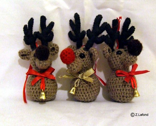 Amigurumi Festive Reindeer Tree Decorations £8.00