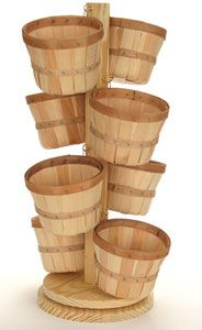 pegboard vegetable baskets | ... basket display 8 basket wood basket display this rotating basket
